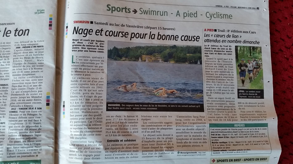 Article du journal le Populaire du 9/06/2016