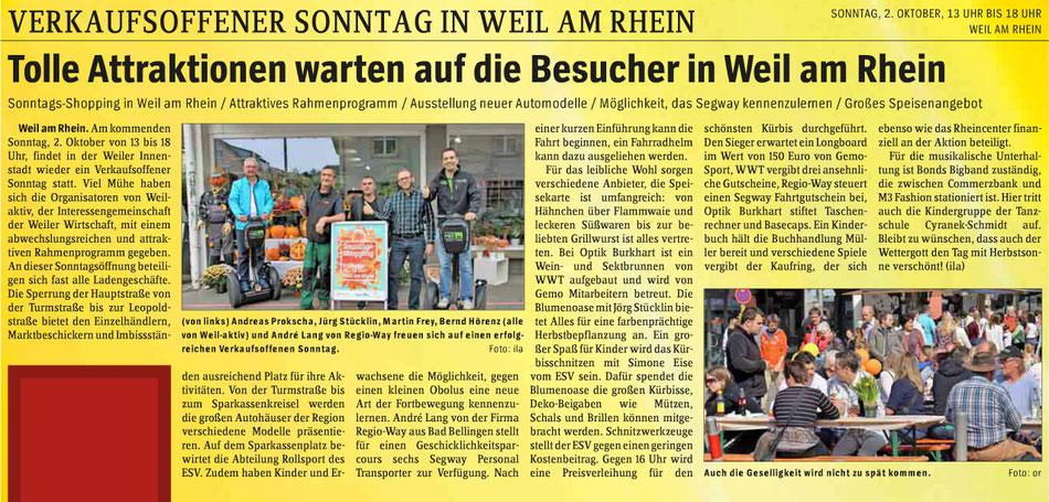 """Wochenblatt Ausgabe """"Markgräflerland"""" vom 28.09.2016"""