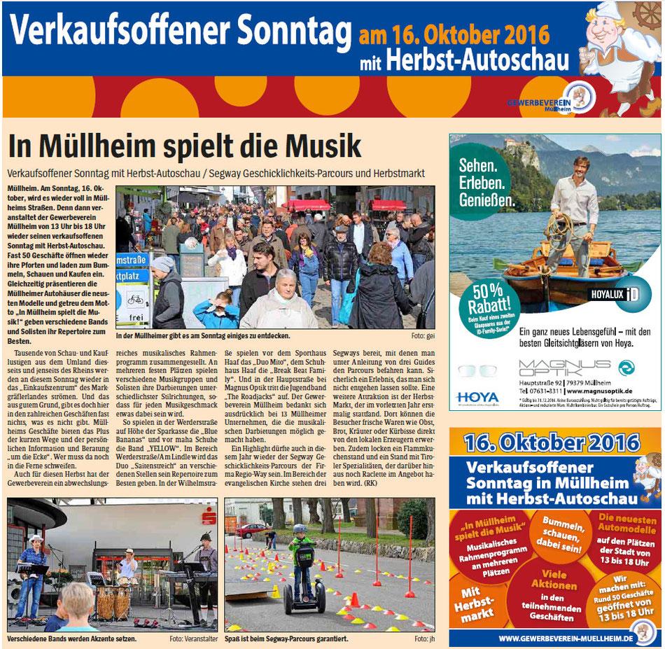 """Wochenblatt Ausgabe """"Markgräflerland"""" vom 12.10.2016"""