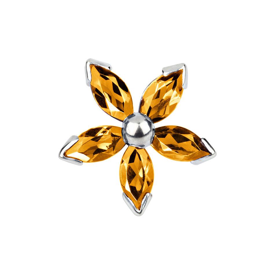 Blid: Citrin Manschettenknöpfe - fünfblättrige Blüte gelb in 585er Weißgold