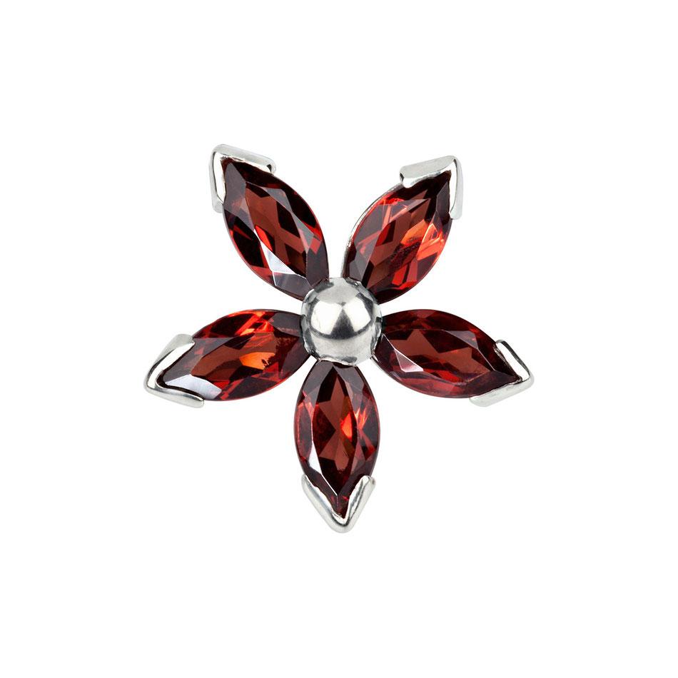 Blid: Granat Manschettenknöpfe - fünfblättrige Blüte
