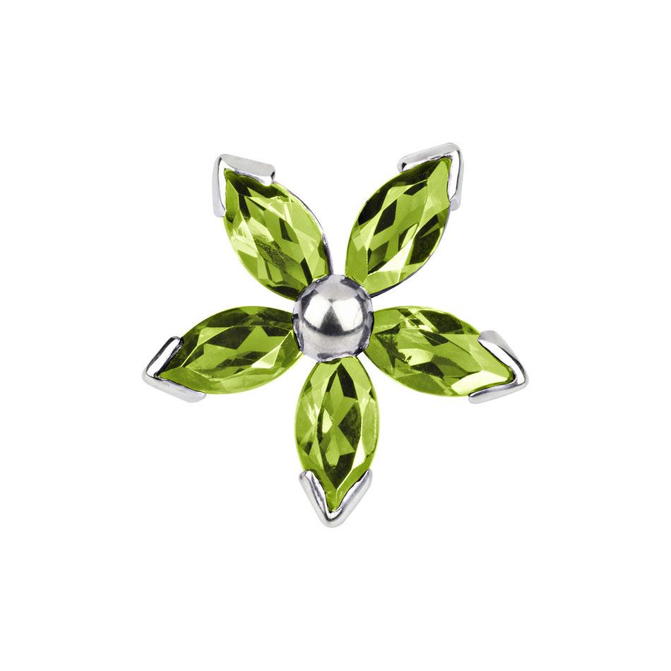 Blid: Peridot Manschettenknöpfe - fünfblättrige Blüte grün in 585er Weißgold