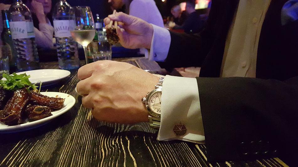 Sechseckige Manschettenknöpfe aus Silber, Silberguss Manschettenknöpfe, Manschettenknöpfe für Dinner, Long March Canteen