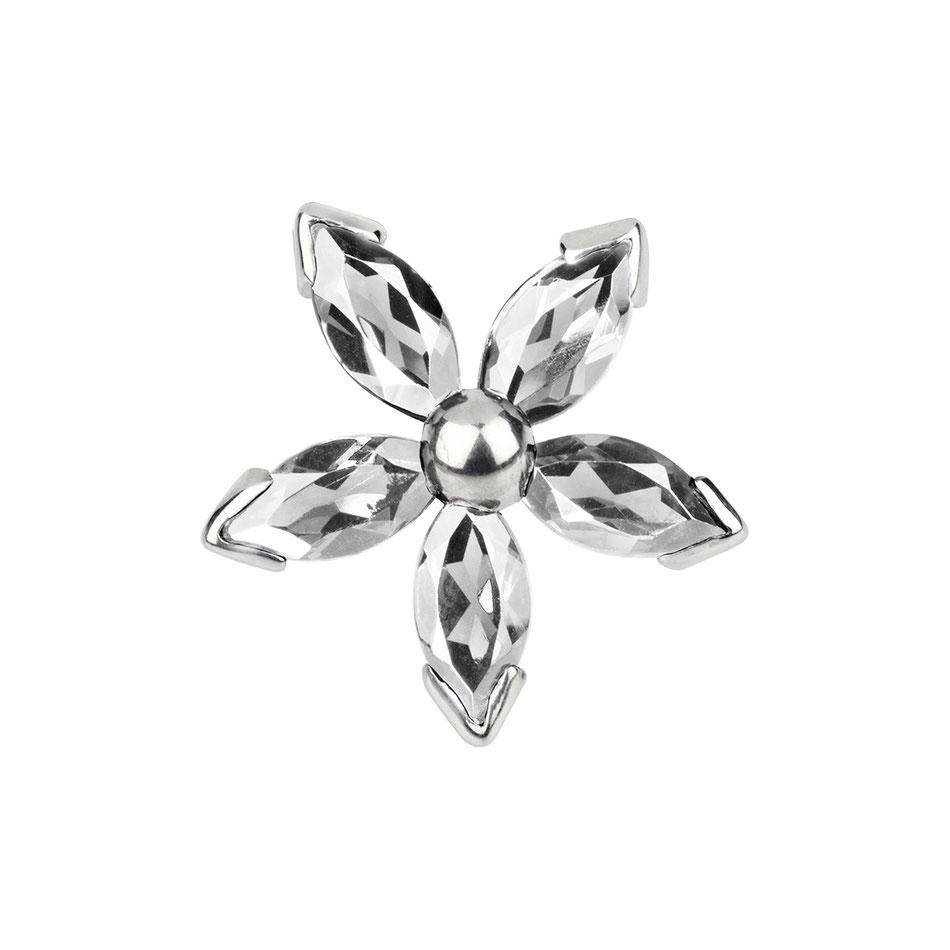 Bild: Handgearbeitete Manschettenknöpfe - Blüten aus Sterlingsilber und weißem Topas