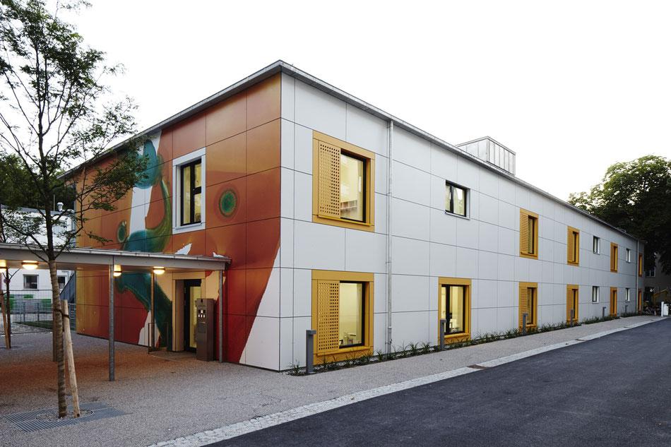 Herzklinikum, Kinderkrippe, Kunst am Bau, Fassade, Anthony Werner, Lotstrasse München