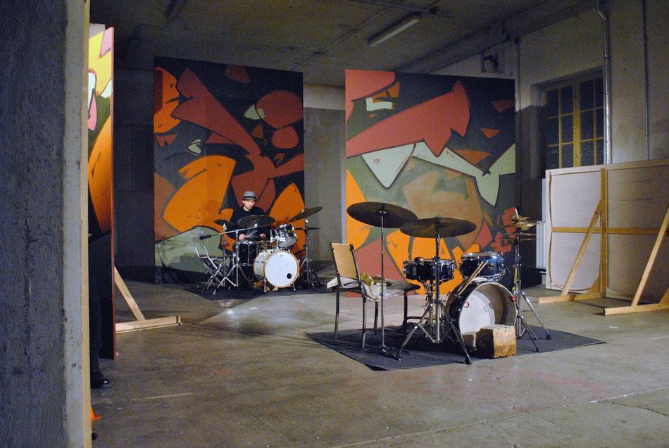 Konzert mit Mars Williams und Tim Daisy, Halle 6, München, Bühnenbild Anthony Werner
