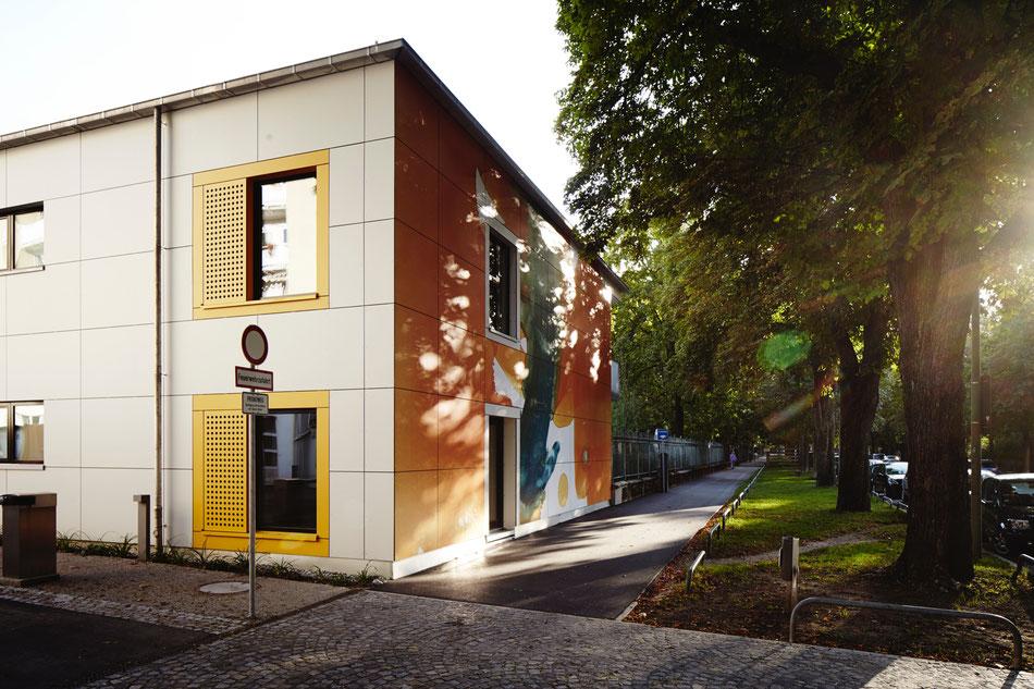 Kunst am Bau, Kinderkrippe, Lotstrasse, München, Monotypie, Anthony Werner, Schlaraffenland, Herzklinikum