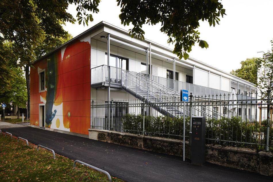 Herzklinikum, Kinderkrippe, Kunst am Bau, Fassade, Monotypie, Anthony Werner, Lotstrasse München,