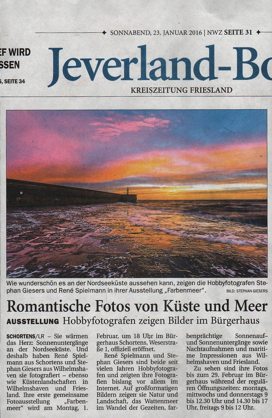Nordwest-Zeitung NWZ, Jeverland-Bote, 23. Januar 2016