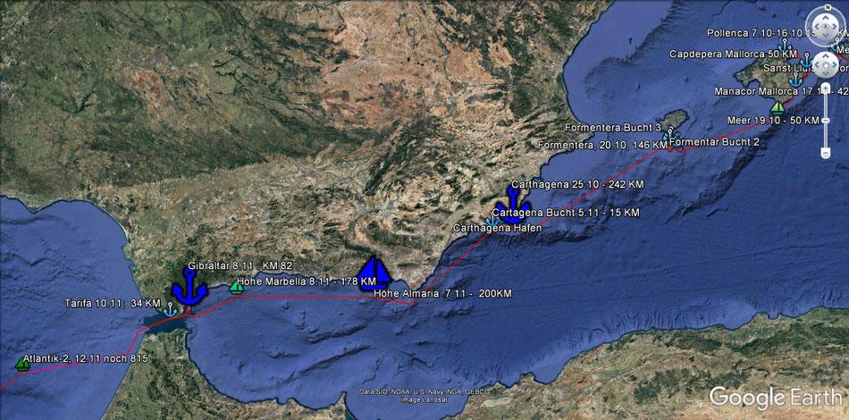 Mallorca, Cartagena, Gibraltar, Tarifa