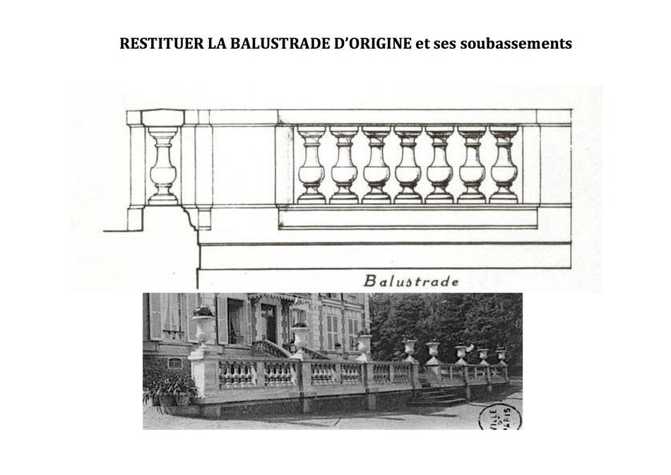Balustrade avec soubassement en rocaille (idem façades des communs)