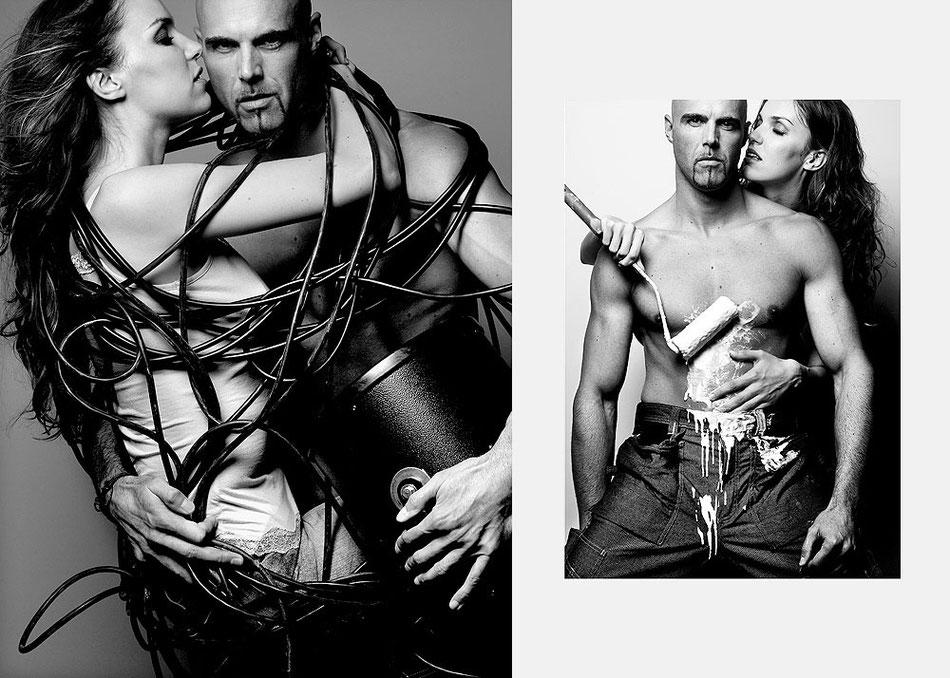 Aktfotograf fotografiert beim Paar Fotoshooting erotische Paarfotos im Fotostudio Hannover