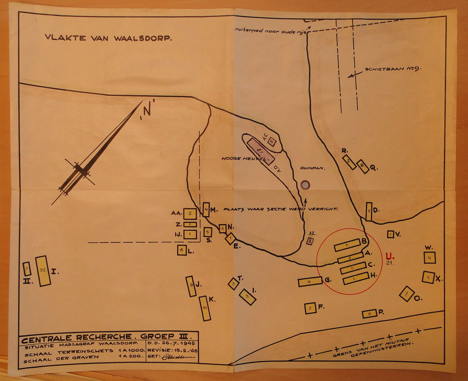 Location of graves found at Waalsdorpervlakte in 1945, the numbers are graves found at each location (Archief Wassenaar)