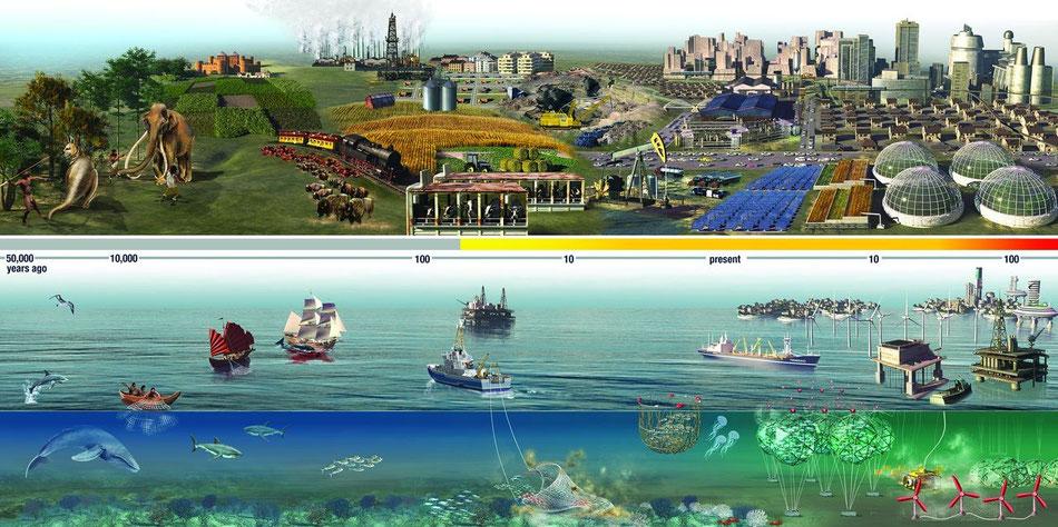 Chronologie (échelle logarithmique) du déclin des faunes marine et terrestre.