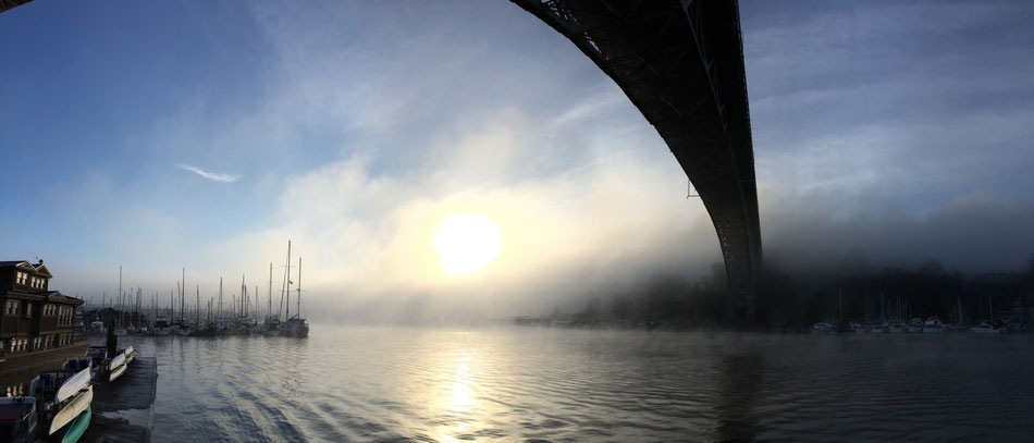 Aurora Bridge Seattle in the fog