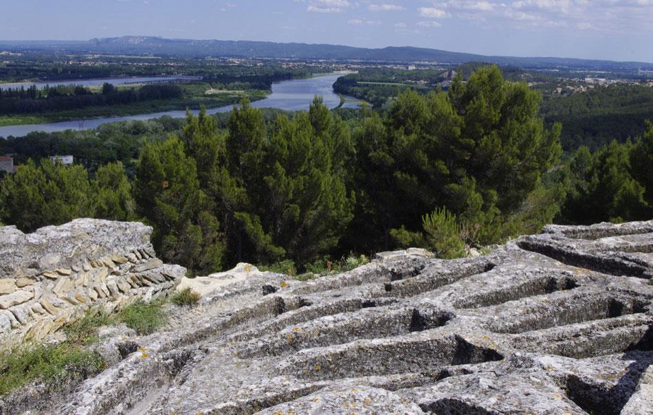 Le Rhône vue de l'abbaye de Saint Roman, au loin, les Alpilles