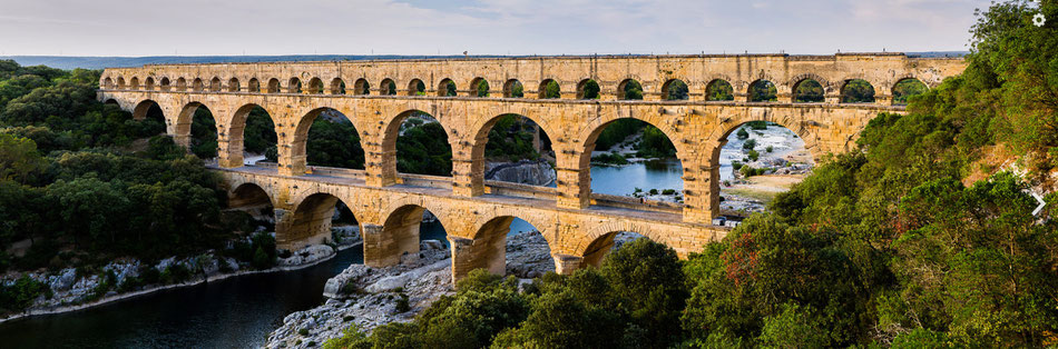 The pont du gard bridge on the gardon river