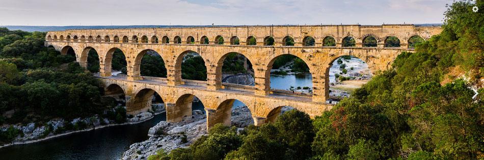 The pont du gard bridge on the gardon river