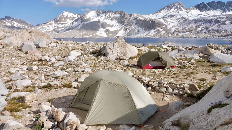 Unsere Campsite an Wanda Lake etwas 3 km nach Muir Pass