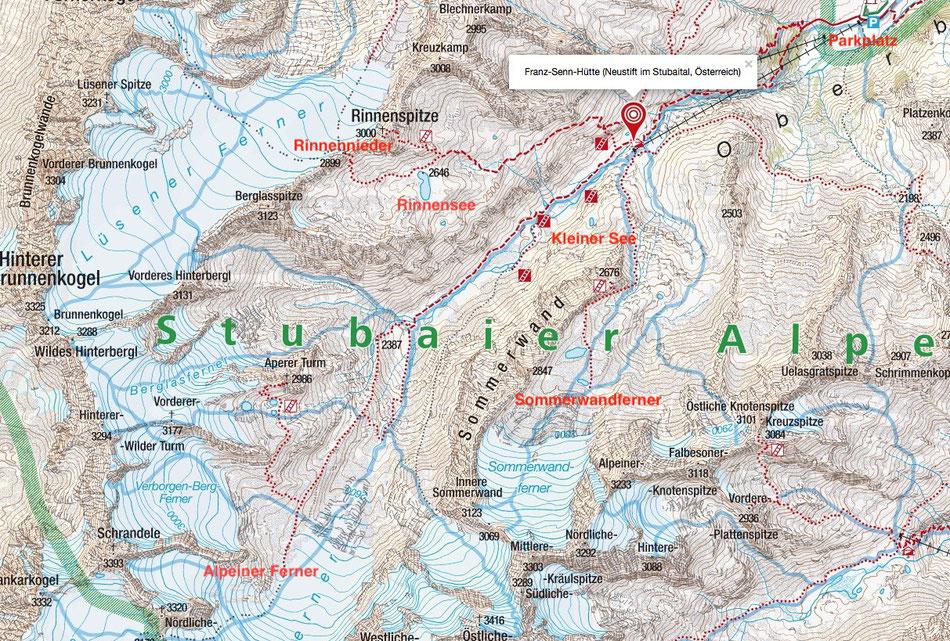 Das Gebiet um die Franz-Senn Hütte mit unseren Ausflugszielen markiert