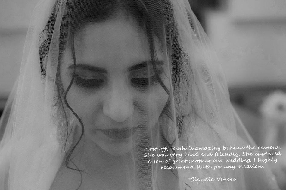 Black and white wedding photo of Mexican bride Lexington Kentucky