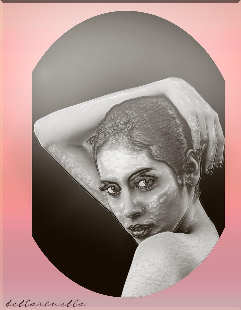 immagine di  un volto femminile trasformato