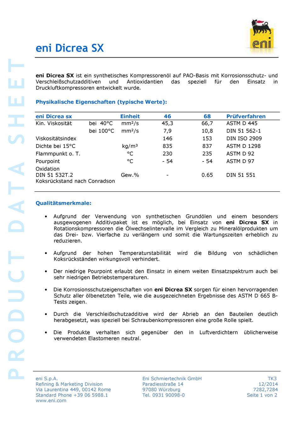 Bild: Produktdatenblatt eni / agip Dicrea SX 46 Datenblatt Seite 1