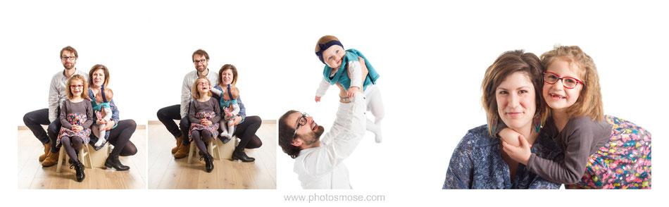 Photos de famille sur fond blanc avec parquet dans le studio Phot'Osmose