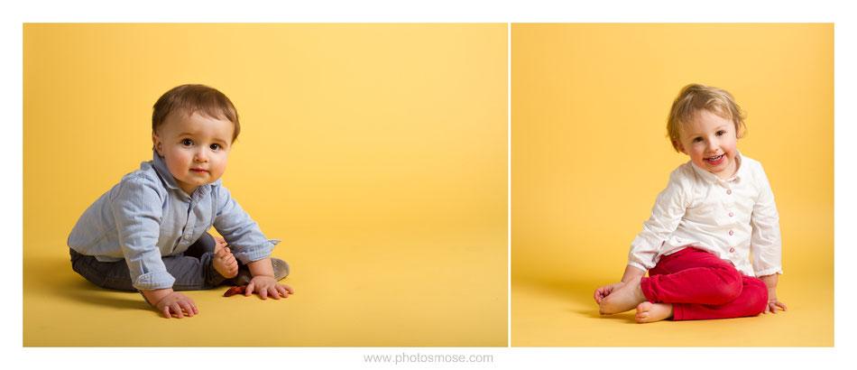 Photos d'enfants sur fond jaune chez Phot'Osmose - Moulins