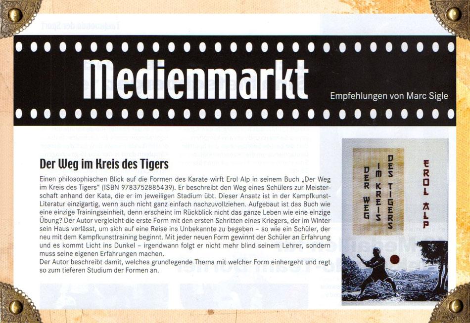 """Das Buch """"Der Weg im Kreis des Tigers"""" in der TAEKWONDO AKTUELL / MEDIENMARKT / Empfehlungen von Marc Sigle"""