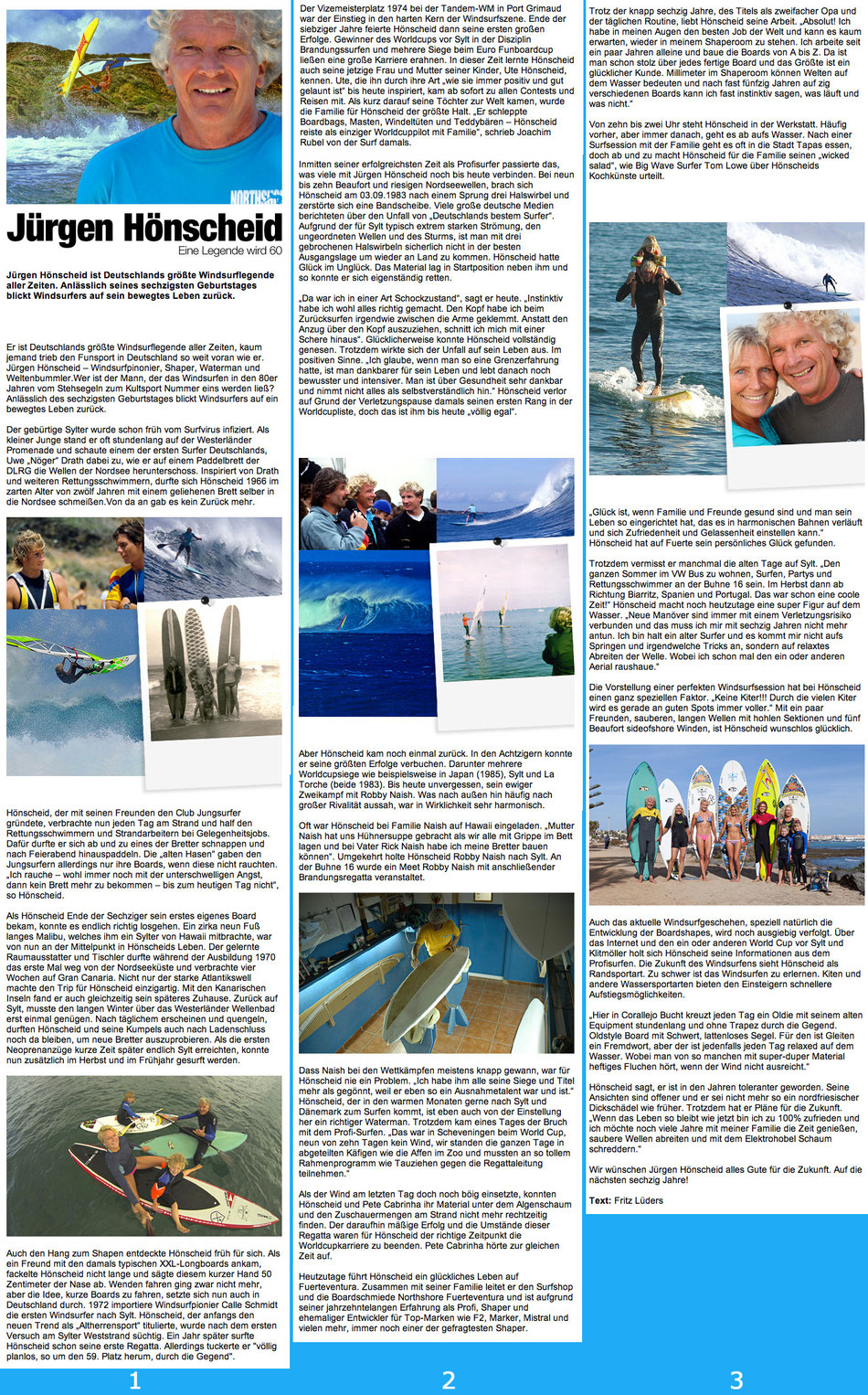 "Interview in ""Windsurfers"" Jürgen Hönscheid 60th birthday"