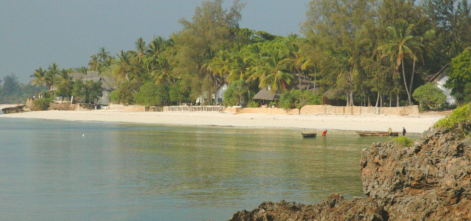 Dozens of palm trees and a long sandy seafront: Mbuyu Beach (center).