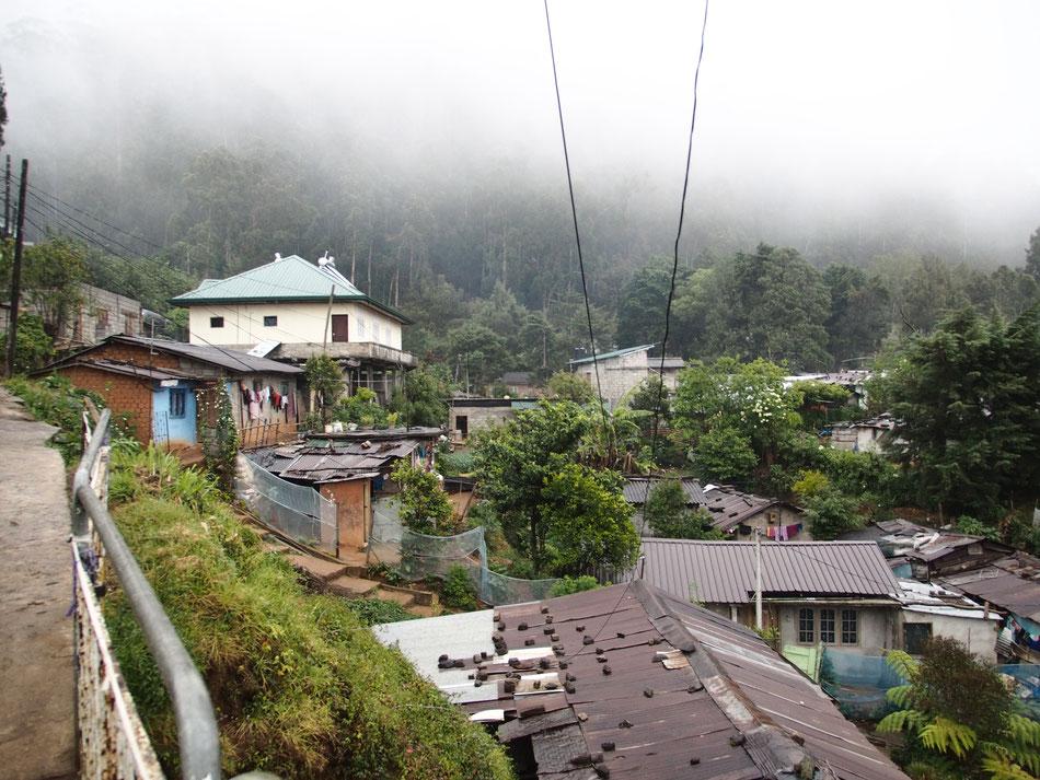 Ilyen házak közt vezetett az utam a szállásomhoz. A köd néha egészen leereszkedett, akkor pár méter volt a látótávolság.