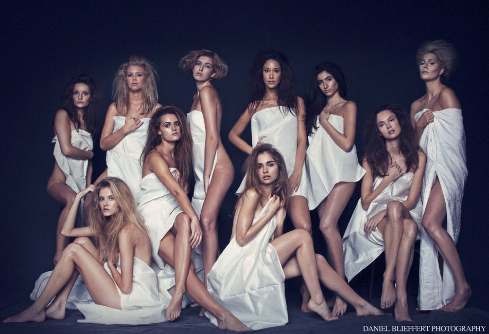 Gruppenbild group model shooting, Model Shooting, Haarmodel, Portrait, Nude, Contouring Make Up, Beauty Retusche, Bildbearbeitung, Daniel Blieffert Photography, Hamburg, Ganzkörper, blonds, brunettes