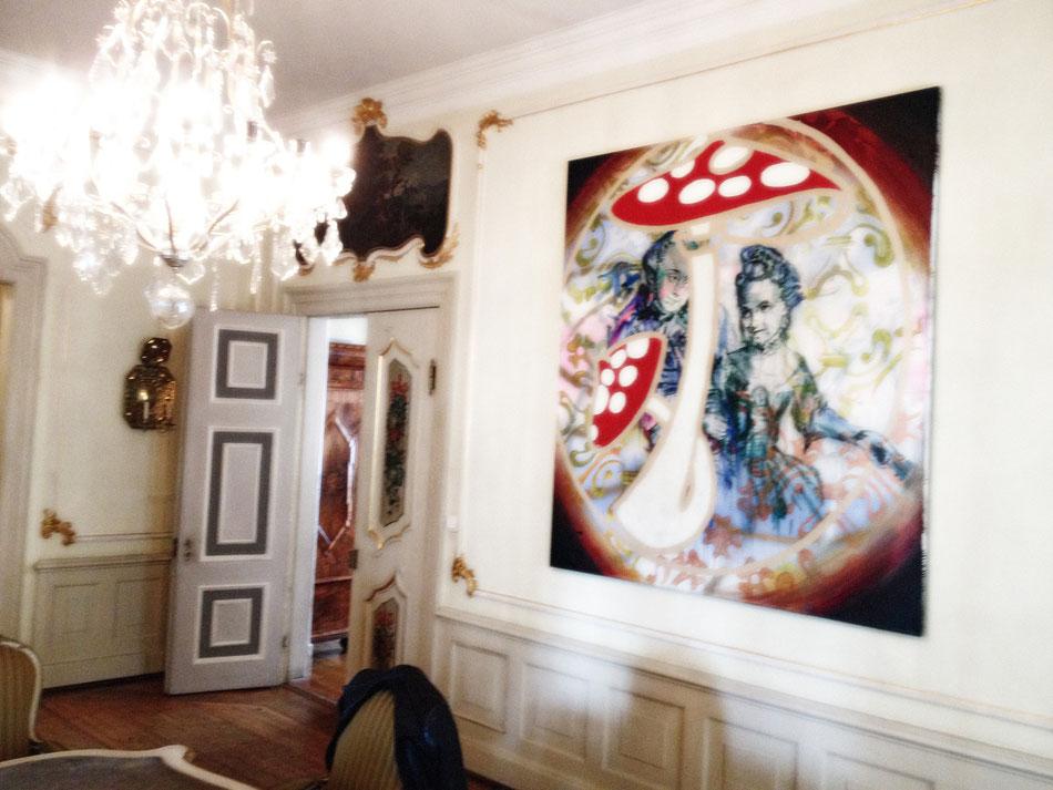 """Installation View: FULL HOUSE at Schloss Molsdorf, Erfurt, Germany, 2015, painting """"Die Pilzsammler"""" (Foto: K. Girke)"""