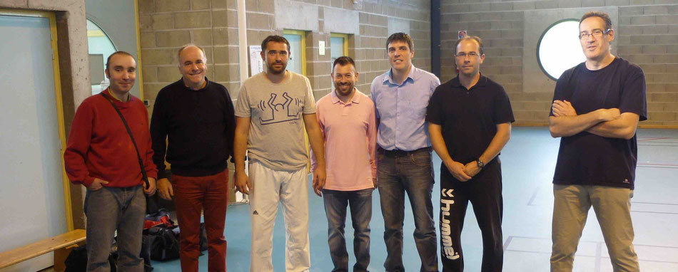Les équipes Bellachone et Couzeixoise après le match : Vincent G., Olivier H., Yannick S., Ludovic R., Didier R., Samuel B. et Jean Christophe A.