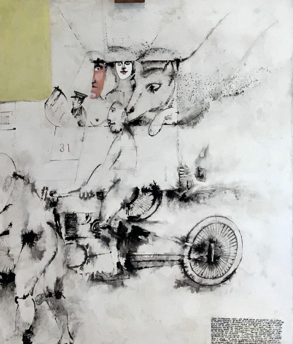 NANDO (Ferdinando Pierluca dit) (1912-1987) Composition aux personnages et animaux Technique mixte sur toile, signée en bas à gauche 92x65cm expose à la galerie agnes thiebault