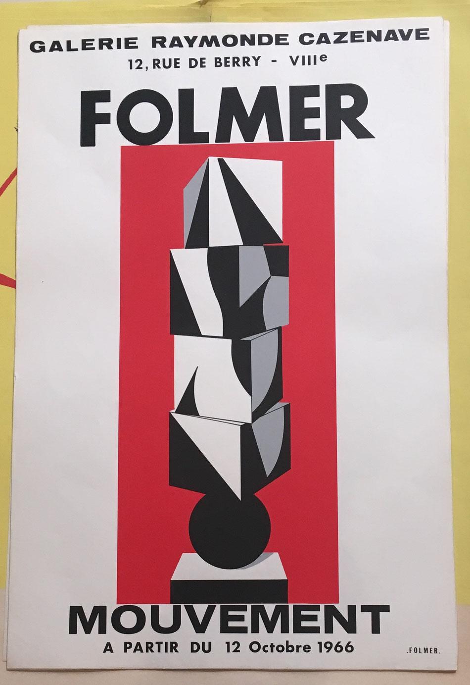 """Georges Folmer , affiche lithographique en couleurs . Galerie Raymond Cazenave """"Mouvement """" 12 octobre 1966, 60 x 40 cm, disponible à galerie agnes thiebault"""