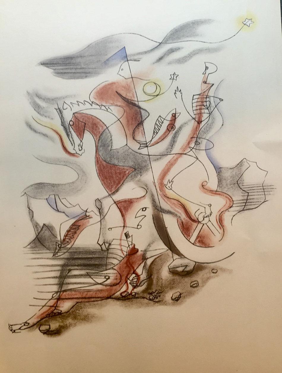 André Masson, cavalier, 1933, lithographie  , édition Jeanne Bucher avec le cachet sec,  40 x 52 cm