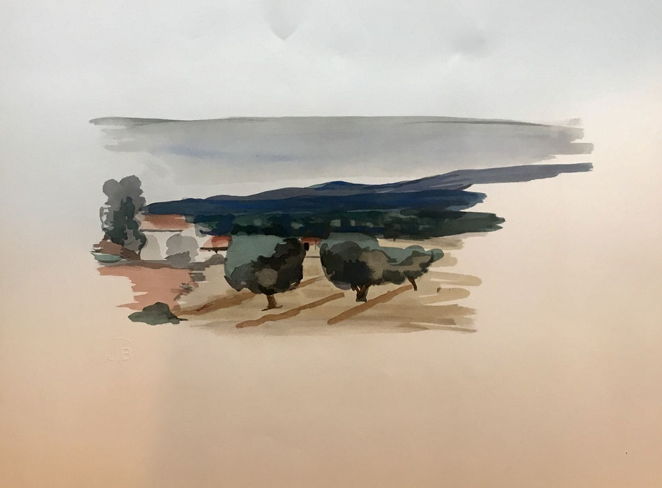 André Derain, 1933, Paysage, lithographie en couleurs   , edition Jeanne Bucher avec le cachet sec,  40 x 52 cm  INFORMATIONS ET PRIX SUR DEMANDE