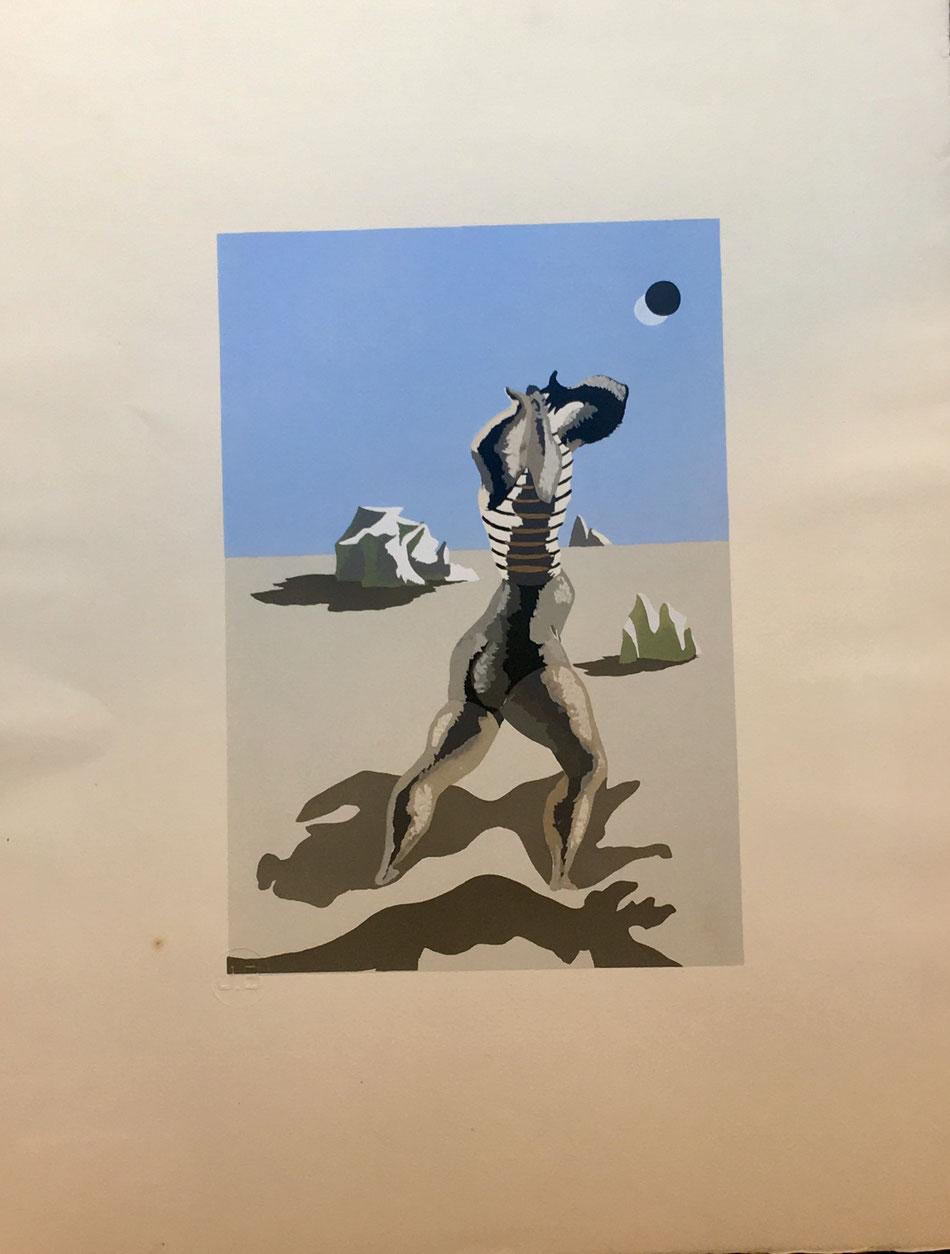 Jean Lurçat, baigneuse, 1933,  pochoir/ stencil in color  , edition Jeanne Bucher avec le cachet sec,  40 x 52 cm