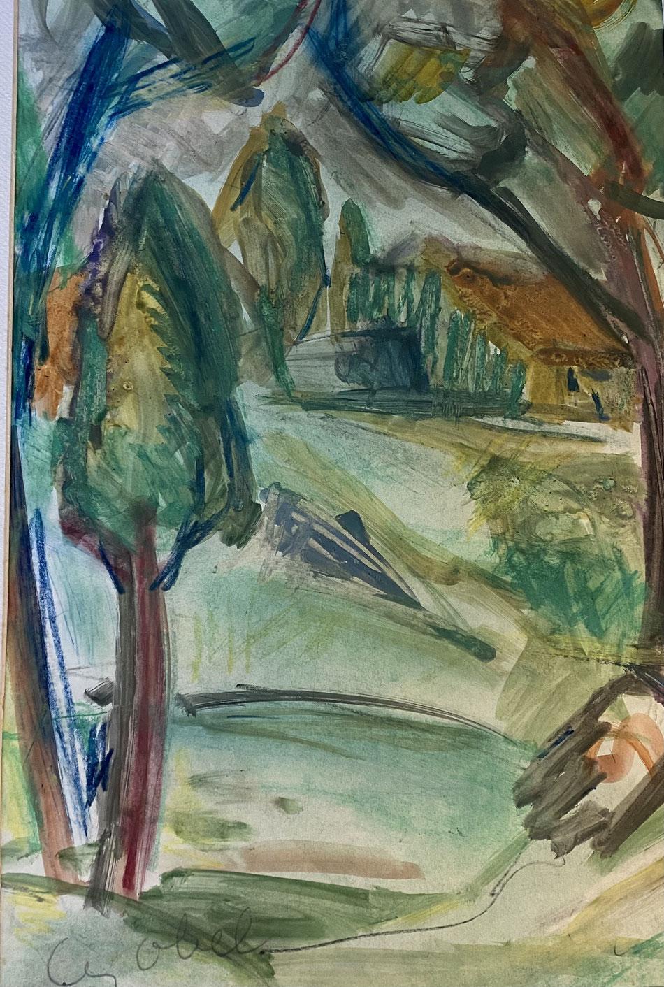Bela Czobel , aquarelle sur papier, signée , galerie Agnes Thiebault