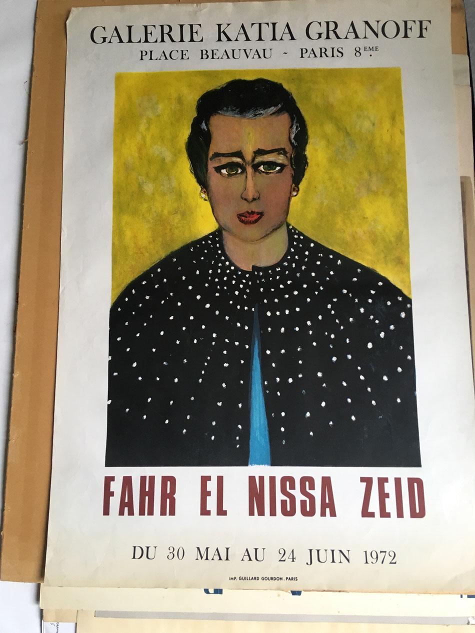 Fahr-el-Nissa zeid , affiche lithographique/ original poster lithograph, galerie Katia Granoff, Mourlot imprimeur , information et prix sur demande , expose à la galerie agnes thiebault