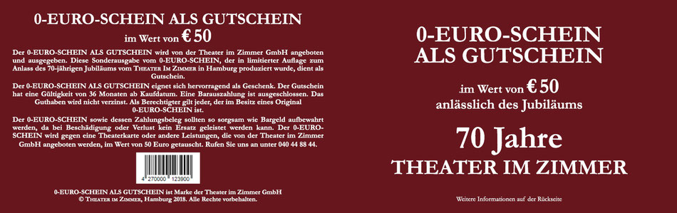 0-Euro-Schein als Gutschein anlässlich des Jubiläums 70 Jahre Theater im Zimmer Hamburg