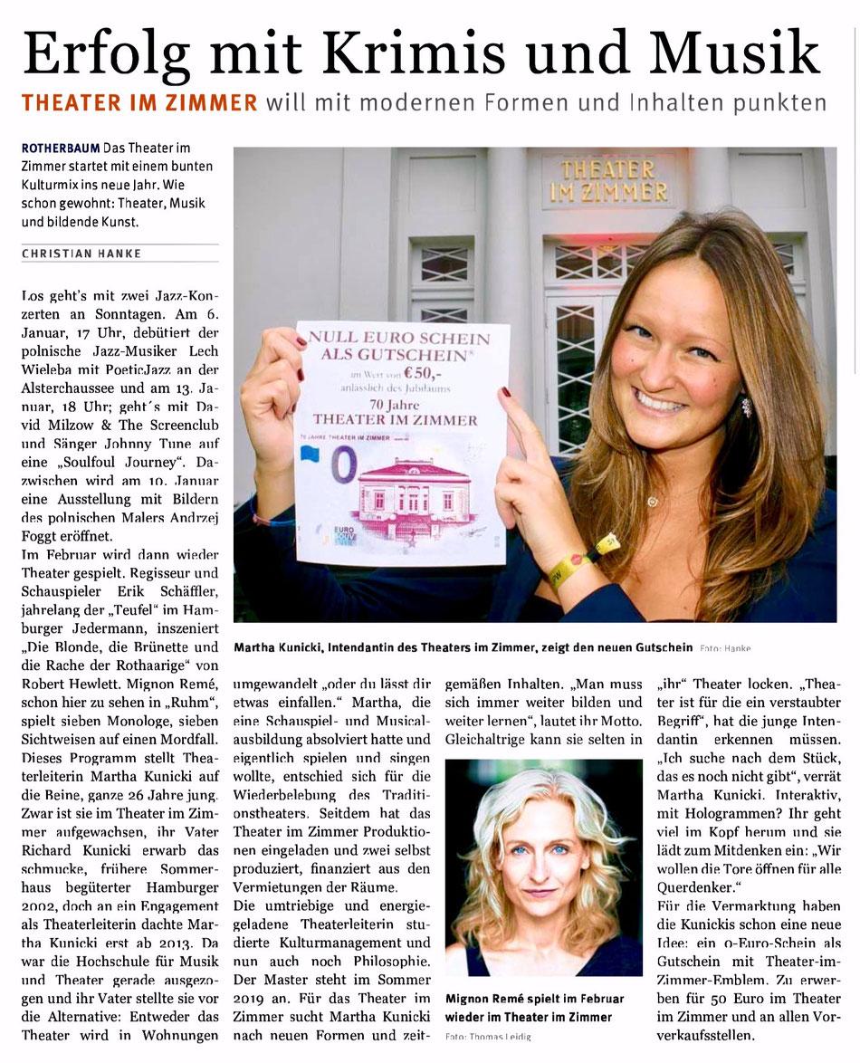 Theater im Zimmer Hamburg - Presseartikel im Hamburger Wochenblatt