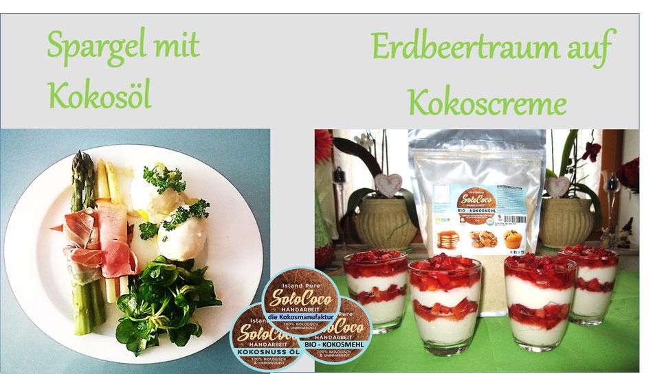 Rezept für Spargel und Erdbeerdessert beides mit SoloCoco