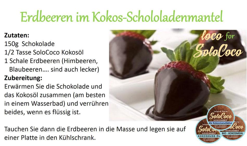 Rezept für Erdbeeren in leckerer Kokos-Schokoladen-Hülle