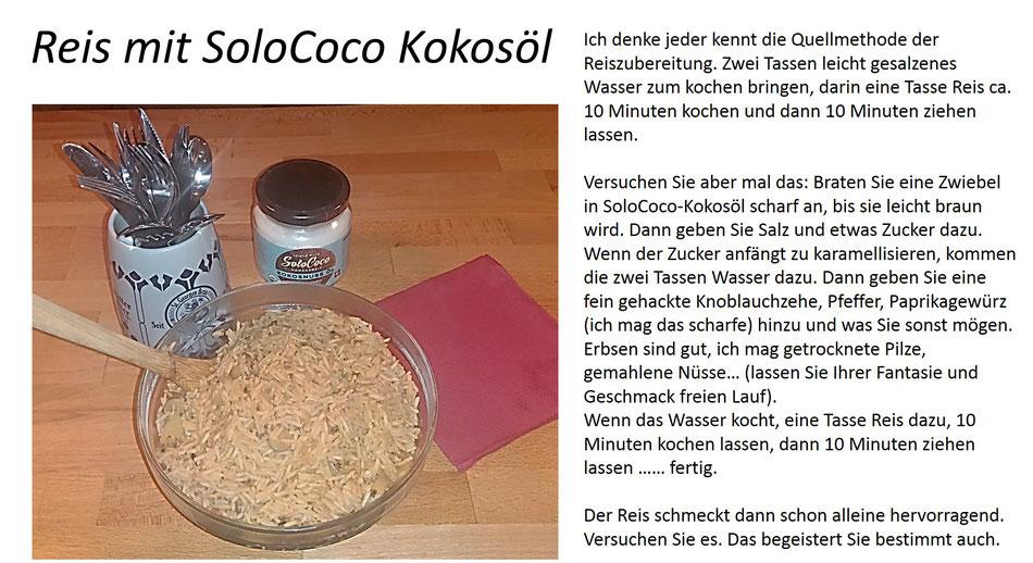 Rezept für Reis in der Quellmethode mit SoloCoco Kokosöl und Gewürzen