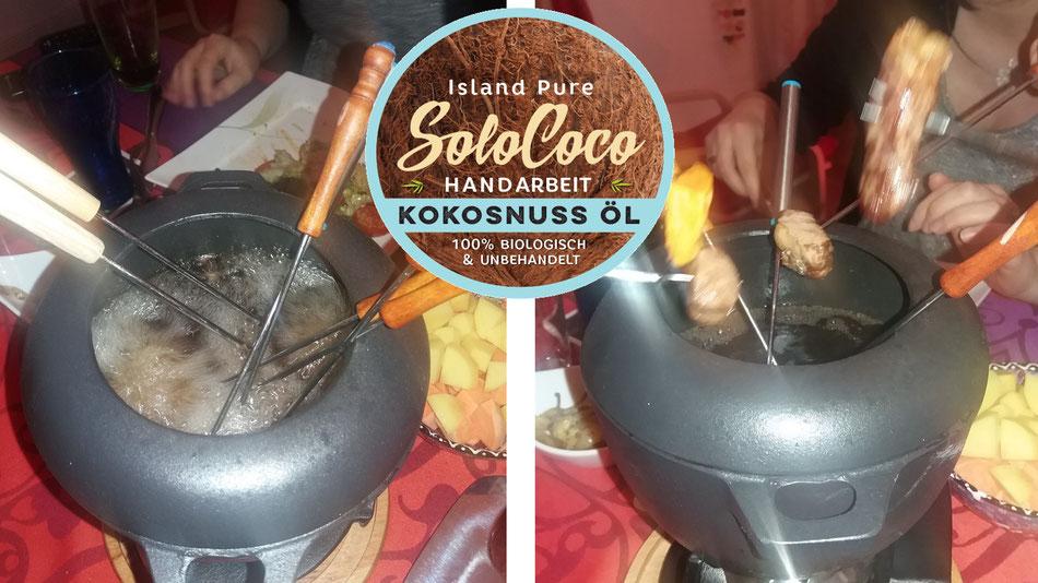 Fondue mit Kokosöl von SoloCoco, ein Genuss