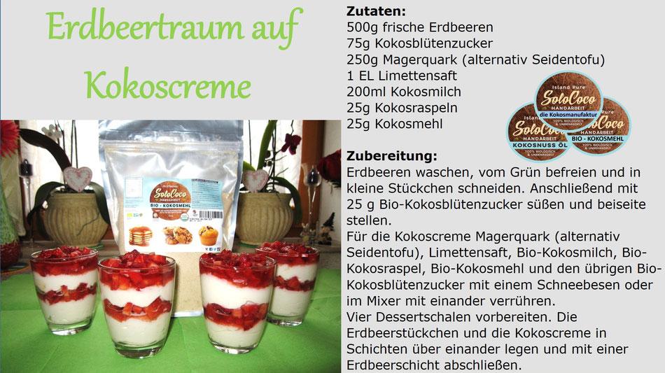 SoloCoco Rezept für einen Erdbeertraum mit Kokoscreme